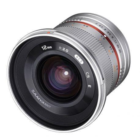 Obiettivo Samyang 12mm f/2.0 NCS CS Silver x Micro Quattro Terzi M4/3 Lens