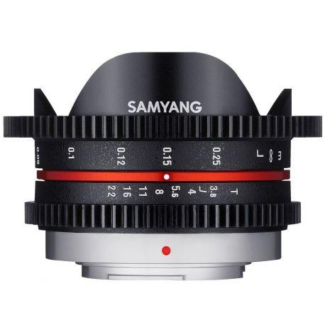 Obiettivo Samyang 7.5mm T3.8 Cine UMC Fish-eye Nero compatibile Micro Quatto Terzi