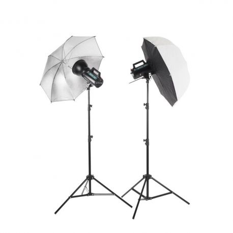 Quadralite Move 200 - Kit 2 Flash da Studio 200W + 2 stativi +  1 ombrello + 1 softbox + 1 cavo sync