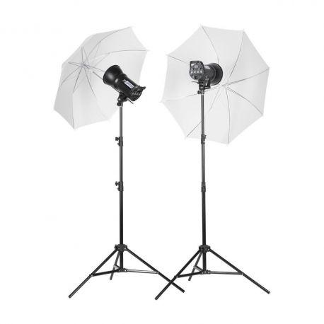 "Quadralite Up! 400 - Kit 2 Flash da Studio 200W + 2 stativi +  2 ombrelli + 2 pannelli 6"""