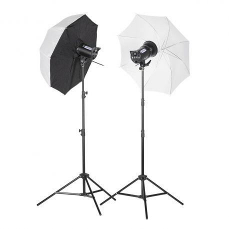 Quadralite Up! 600 - Kit 2 Flash da Studio 300W + 2 stativi + 1 ombrello + 1 softbox