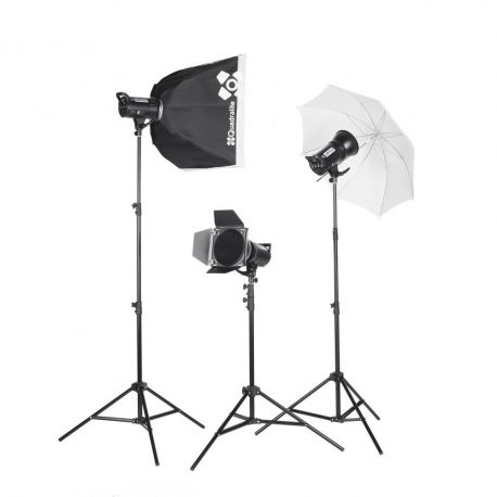 Quadralite Up! 700 - Kit 2 Flash da Studio 200W + 1 da 300W + 3 stativi + 1 ombrello + 1 pannello + 1 softbox