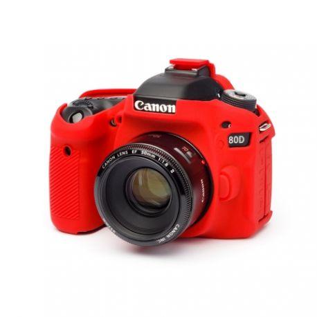 Custodia EasyCover camera case in silicone morbido protezione per Canon 80D Rosso
