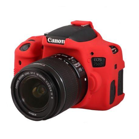 Custodia protezione EasyCover camera case in silicone morbido per Canon 750D / Rebel T6i Rosso
