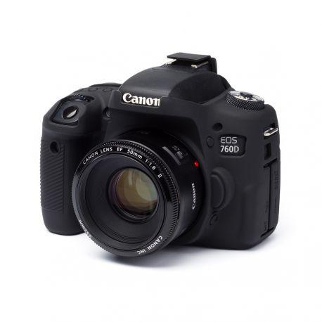EasyCover custodia protezione in silicone morbido camera case per Canon 760D / Rebel T6s Nero