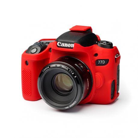 Custodia protezione soft camera case in morbido silicone EasyCover per Canon 77D Rosso