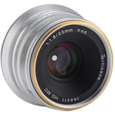 Obiettivo grandangolare 7Artisans 25mm F1.8 per fotocamere Sony E formato APS-C Silver