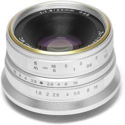 Obiettivo grandangolare 7Artisans 25mm F1.8 per fotocamere Canon attacco EF-M Silver