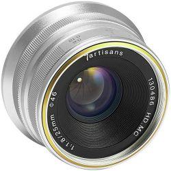 Obiettivo 7Artisans 25mm F1.8 per fotocamere mirrorless Fuji X silver