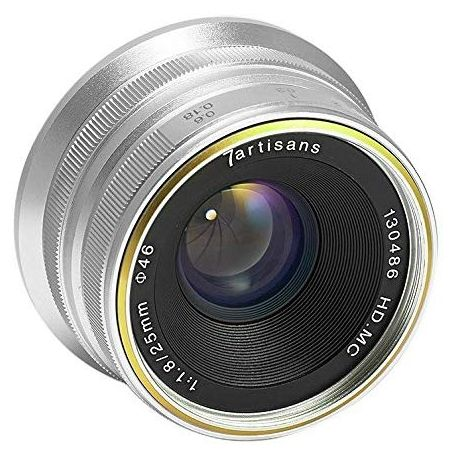 Obiettivo 7Artisans 25mm F1.8 per fotocamere Panasonic e Olympus attacco Micro M4/3 Silver