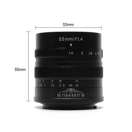 Obiettivo 7Artisans 55mm F/1.4 APS-C per fotocamere mirrorless Sony E