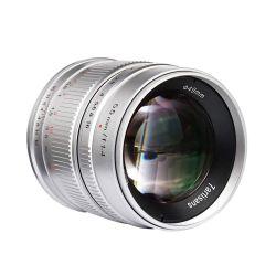 Obiettivo 7Artisans 55mm F/1.4 APS-C per fotocamere mirrorless Sony E Silver