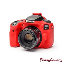 easyCover custodia protettiva in silicone per Canon 90D rosso