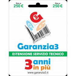 fino a 250€ - garanzia 3 anni in più con massimale di copertura a 250 euro