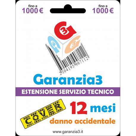 Garanzia cover 12 mesi con massimale di copertura fino a 1000 euro - GARANZIA3 COVER