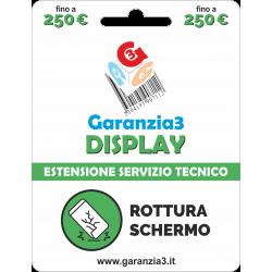 Garanzia Display 12 mesi con massimale di copertura fino a 250 euro - GARANZIA3 DISPLAY
