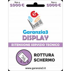 Garanzia Display 12 mesi con massimale di copertura fino a 1000 euro - GARANZIA3 DISPLAY