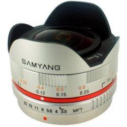 Obiettivo Fisheye Samyang 7.5mm Cine UMC T3.8 Argento Compatibile Micro Quattro Terzi