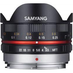 Obiettivo Fisheye Samyang 7.5mm f/3.5 nero attacco Micro Quattro Terzi