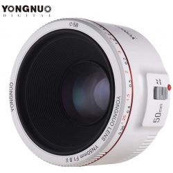 Obiettivo Yongnuo 50mm f/1.8 Mark II Bianco per fotocamere Canon YN50II