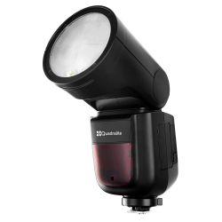 Quadralite Stroboss V1 Flash a testa rotonda per fotocamere Nikon