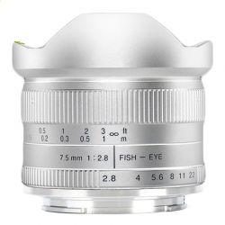 Obiettivo 7Artisans 7.5mm F2.8 APS-C compatibile fotocamere micro quattro terzi Silver
