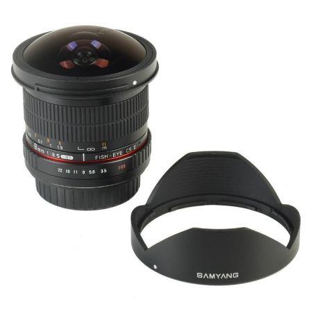 Obiettivo Samyang 8mm f/3.5 Fish-eye CS II FULL FRAME con paraluce x Canon