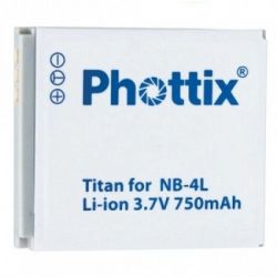 Phottix TITAN Batteria Ricaricabile NB-4L x Canon IXUS 30 40 50 55 65 70 75 80 Powershot