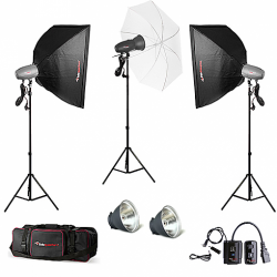 FotoQuantum Studio Flash Kit FQM-500/500/500Ws (montaggio Bowens) con Softboxes 60x90cm & Umbrella 110cm + Flash Trigger & Borsa