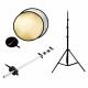 FotoQuantum Riflettore Oro e Argento 80cm + Supporto Riflettore + Treppiede 2.6m