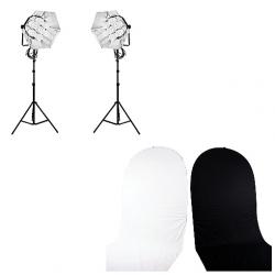 FotoQuantum Daylight Kit FQCL 1750/1750 + Fondale Pieghevole Nero e Bianco 150x210cm (Estensione)
