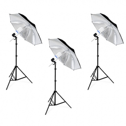 FotoQuantum StudioMax Daylight Kit 450/450/450 + Ombrelli Argento/Nero 110cm + Studio Bag XL