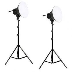 FotoQuantum StudioMax Kit Daylight 750/750W con riflettori + stativi lampada 2.6m