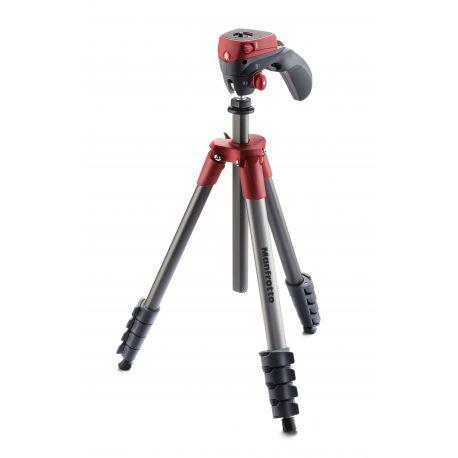 Manfrotto Foto Treppiedi Compact Action rosso con testa joystick MKCOMPACTACN-RD