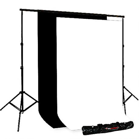 FotoQuantum Supporto Fondali XXL (200-500cm) + Fondali in tessuto Nero/Bianco 3x6m