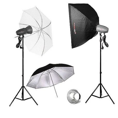 FotoQuantum Studio Flash Kit FQM-500/500Ws (montaggio Bowens) con Softbox 60x90cm e Ombrelli 110cm