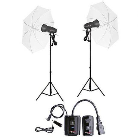 FotoQuantum Studio Flash Kit FQM-500/500 (montaggio Bowens) con Ombrelli traslucidi bianchi 110cm e Radio Trigger