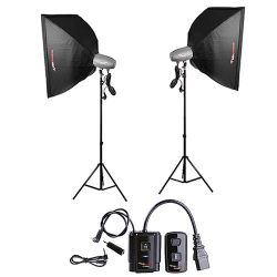 FotoQuantum Studio Flash Kit FQM-500/500 (montaggio Bowens) con Softbox 60x90cm e Radio Trigger