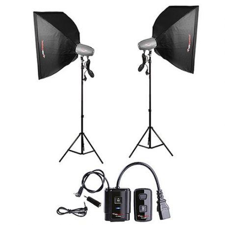FotoQuantum Studio Flash Kit FQM-500/500 (montaggio Bowens) con Softbox 60x90cm e Radio Trigger