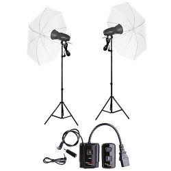 FotoQuantum Studio Flash Kit FQM-250/250 (montaggio Bowens) con Ombrelli traslucidi bianchi 110cm e Radio Trigger