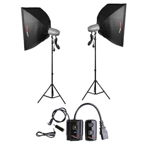 FotoQuantum Studio Flash Kit FQM-250/250 (montaggio Bowens) con Softboxes 60x90cm e Radio Trigger