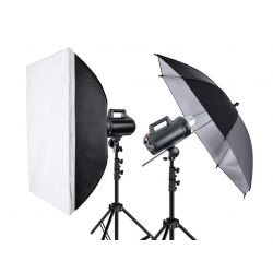 "Quadralite Move 300 - Kit 2 Flash da Studio 300W + 2 stativi + 1 ombrello + 1 softbox + 1 pannello 7"" + 1 cavo sync"