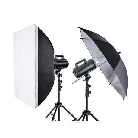 """Quadralite Move 300 - Kit 2 Flash da Studio 300W + 2 stativi + 1 ombrello + 1 softbox + 1 pannello 7"""" + 1 cavo sync"""