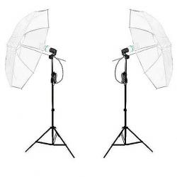 FotoQuantum StudioMax Daylight Kit 450/450 + Ombrelli traslucidi Bianchi 110cm