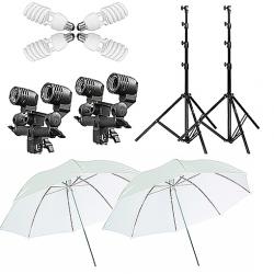 FotoQuantum StudioMax Daylight Kit 900/900W + Ombrello traslucido Bianco 110cm