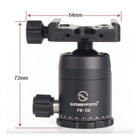 Sunwayfoto FB-28i testa per treppiedi ballhead screw-knob clamp